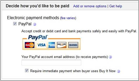 Ebay Payment Options >> Paypal And Ebay Account Email Addresses When Buy The Ebay