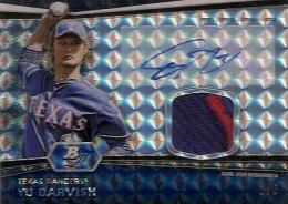 2012 Bowman Platinum Baseball Autographed Patch Atomic Refractor Yu Darvish