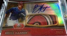 2012 Bowman Platinum Baseball Autographed Patch Gold Refractor Bryce Harper