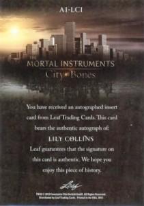 2013 Leaf The Mortal Instruments City Of Bones Autograph