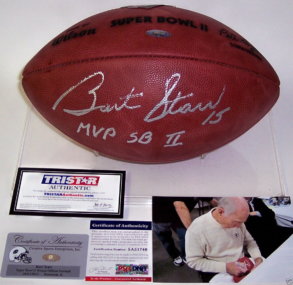 Bart Starr Autographed Football Bart Starr Signed Football