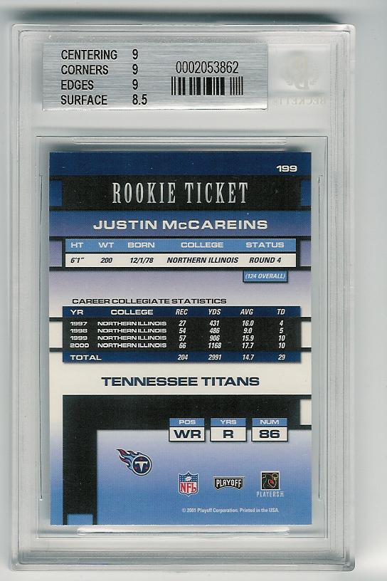 BGS graded card - back