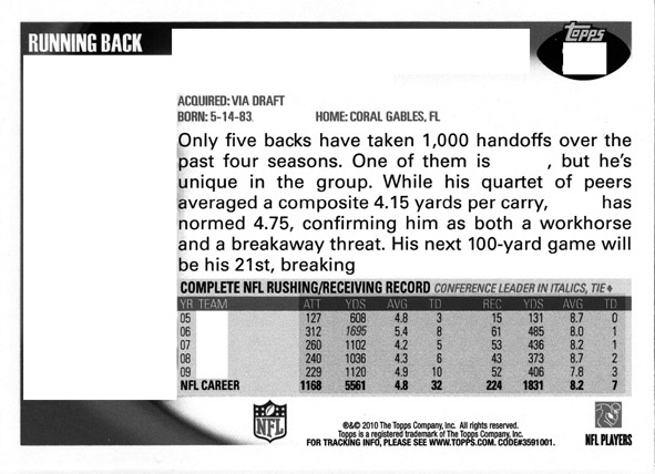 Football Card Trivia: 2010 Topps Football Back of the Card Stats 1
