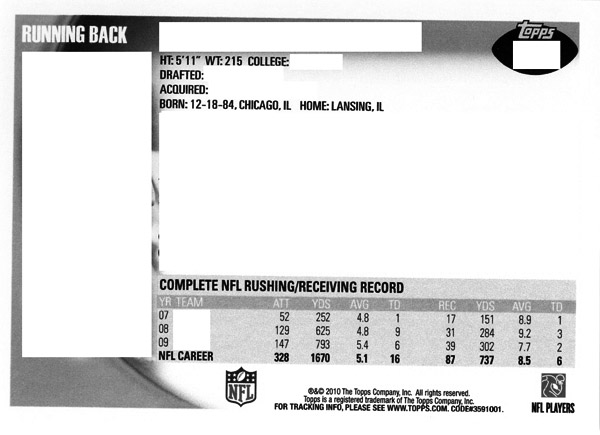 Football Card Trivia: 2010 Topps Football Back of the Card Stats 6