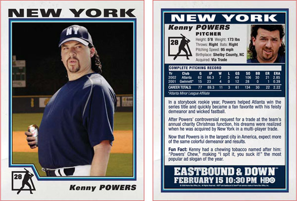 Kenny Powers Baseball Card Gallery From HBO's Eastbound & Down 2