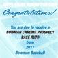 Topps Reveals 2011 Bowman Baseball Autograph Redemptions