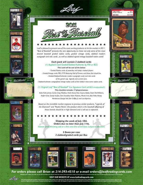 Topps Sues Leaf Over 2011 Leaf Best of Baseball Sell Sheet 1