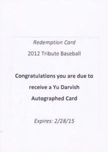2012 Topps Tribute Yu Darvish Autograph Redemption