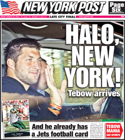 Tim Tebow's First New York Jets Cards Teased by Topps and Panini 3