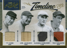 "2011 Playoff Prime Cuts Timeline Quad Memorabilia Ty Cobb, ""Shoeless"" Joe Jackson, Rogers Hornsby and Ted Williams /5"