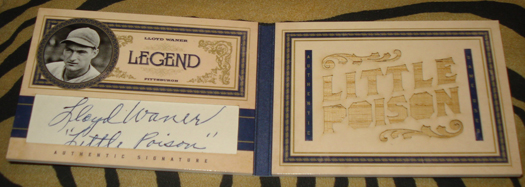 Playoff Prime Cuts Legend Book Card Lloyd Waner Cut Signature Bat /5
