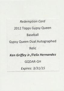 2012 Topps Gypsy Queen Dual Autographed Relic Ken Griffey Jr and Felix Hernandez