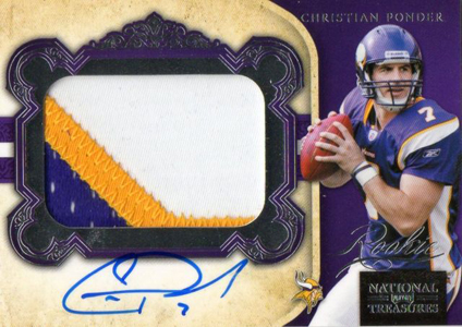 2011 National Treasures Football Autographed Patch 301 Christian Ponder