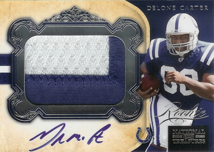2011 National Treasures Football Autographed Patch 309 Delone Carter