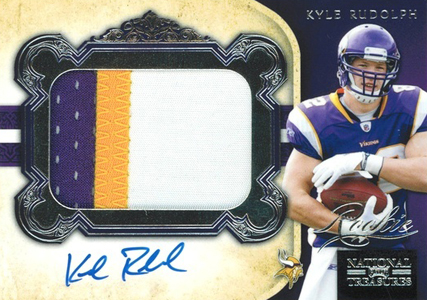 2011 National Treasures Football Autographed Patch 310 Kyle Rudolph