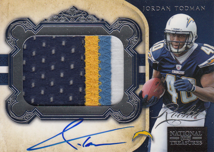 2011 National Treasures Football Autographed Patch 324 Jordan Todman