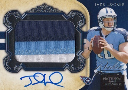 2011 National Treasures Football Autographed Patch 325 Jake Locker
