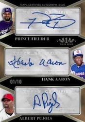 2012 Topps Tier One Baseball Triple Autograph Card Image