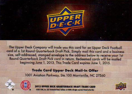 The Mystery of the 2012 Upper Deck Football Quarterback Trade Card 4