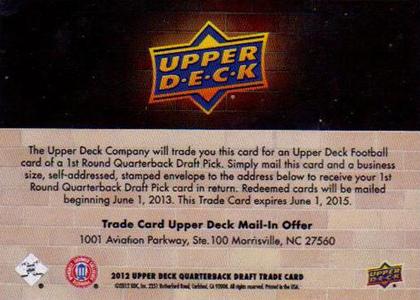 2012 Upper Deck Football Quarterback Trade Card Back