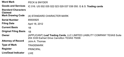 Leaf Trademark Filings - Peck and Snyder