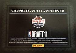 2011 12 Panini Past Present Basketball 2011 Draft Pick Autograph Redemption Card Image