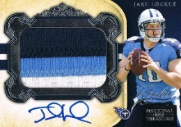 Jake Locker Cards - 2011 National Treasures Jake Locker Autographed Patch RC