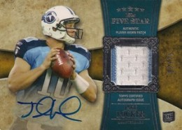 Jake Locker Cards - 2011 Topps Five Star Jake Locker Autographed Patch RC