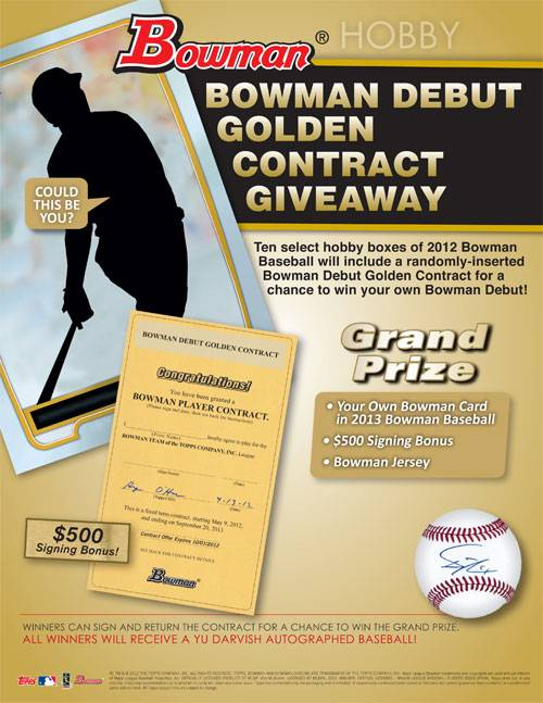 2012 Bowman Baseball Debut Golden Contract