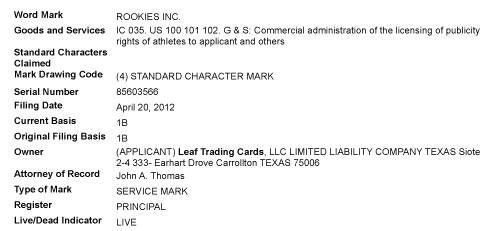 Leaf Trademark Filings - Rookies Inc.