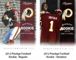 2012 Prestige Football Rookie Variations Comparison