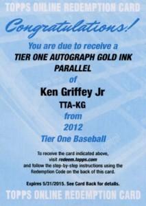 2012 Topps Tier One Baseball Gold Autograph Ken Griffey Jr Redemption