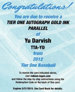 2012 Topps Tier One Baseball Gold Autograph Yu Darvish Redemption