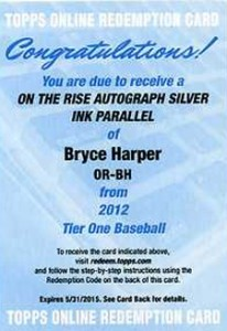 2012 Topps Tier One Baseball On the Rise Silver Ink Autograph Bryce Harper Redemption