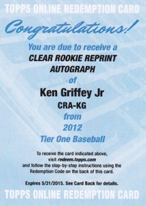 Thinking Clearly with 2012 Topps Tier One Baseball Clear Rookie Reprint Autographs 7