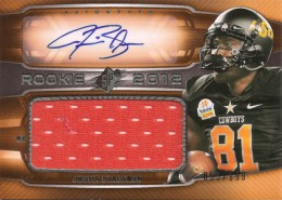 2012 SPx Football Rookie Auto Jersey 81 Justin Blackmon