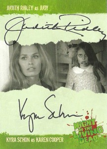2012 Unstoppable Cards Night of the Living Dead Autographs A9 Judith Ridley as Judy and Kyra Schon as Karen Cooper