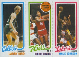 1980-81 Topps Basketball Larry Bird, Julius Irving and Magic Johnson