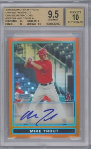 Mike Trout Cards - 2009 Bowman Chrome Draft Orange Refractor Autograph Mike Trout BGS 9.5