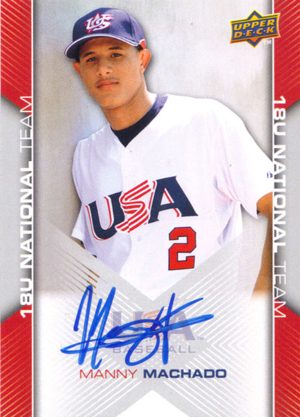 2009 Upper Deck USA Baseball Autograph Manny Machado