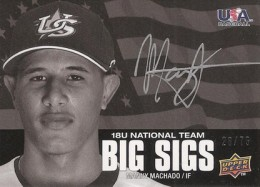 2009 Upper Deck USA Baseball Big Sigs Autograph Manny Machado #/75