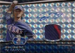 2012 Bowman Platinum Baseball Autographed Patch Atomic Refractor Yu Darvish