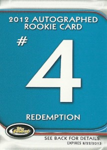 Jean Segura Named Fifth 2012 Finest Baseball Autograph Rookie Redemption 7