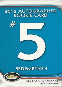 Jean Segura Named Fifth 2012 Finest Baseball Autograph Rookie Redemption 9
