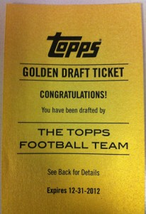 2012 Topps Football Golden Draft Tickets Give a Collector Their Own Rookie Card 1