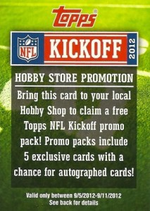 Topps Takes Action on Dealers Selling 2012 Topps Football Kickoff Cards  1