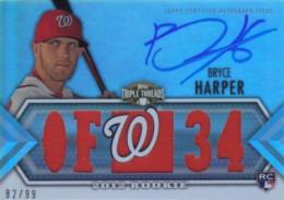 2012 Topps Triple Threads Baseball Bryce Harper RC Autograph Jersey 99