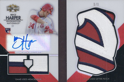2012 Topps Triple Threads Baseball Letter Patch Autograph Bryce Harper 1/1