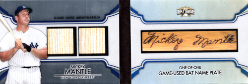 2012 Topps Triple Threads Bat Barrel Name Plate Mickey Mantle