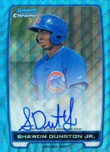 2012 Bowman Chrome Baseball Wrapper Redemption Blue Wave Refractor Autograph Shawon Dunston Jr